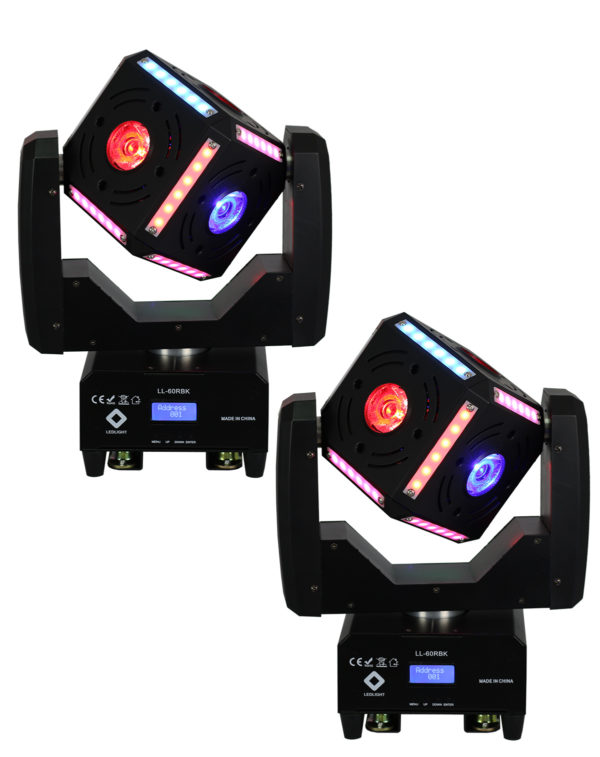 KIT COM 02 UNIDADES LL-60RBK MOVING CUBE BEAM LED EFFECT 6X12W RGBW