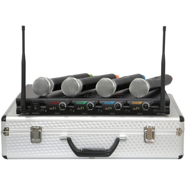 MK-UHF 408 - MICROFONE SEM FIO PROFISSIONAL DE 4 CANAIS